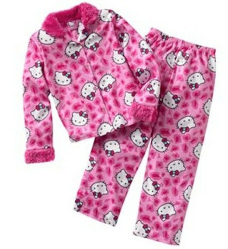 Girls 6 Brand NEW Hello Kitty Faux-Fur Trim Pajamas Set