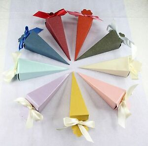 """1.5""""x5""""(H)Cone Favor Boxes, Wedding Bridal Baby Shower Party Candy Gift 25~200p"""