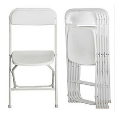New 5x Commercial High Quality Stackable Plastic Folding Chairs in White Plastic