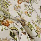 Brissac Amber Floral Jacobean Linen Fabric