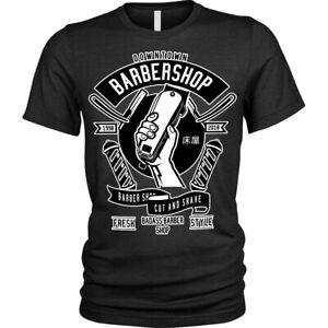 Giu-Citta-Barbiere-Negozio-T-Shirt-Maglietta-Unisex-da-Uomo