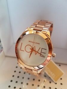 6c6b0064b937 Michael Kors MK3804 Slim Runway Love Rose Gold-Tone Watch White Love ...