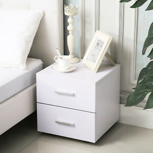 Details about 2 Drawer Nightstand Bedside Cabinet End Table Bedroom  Furniture Storage in White