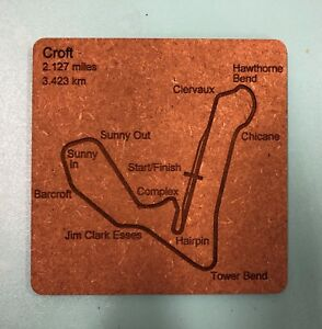 2 Carbon /& acrylic motor racing circuit track map coasters. Pick your own