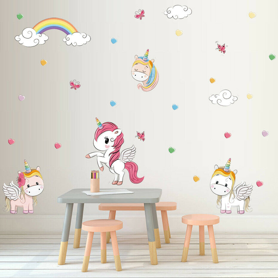 Cartoon Animal Wall Sticker Girls Kids Room Decal Unicorn Rainbow Art Wall Decor