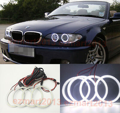 4X106MM For BMW E46 2D 325ci 330ci Coupe Convert SMD LED Angel Eye Halo Ring DRL