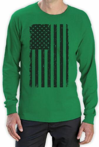 Big Black American Flag Vintage Distressed USA Flag Long Sleeve T-Shirt Cool
