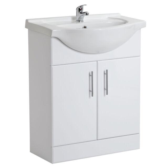 650mm White High Gloss Bathroom Vanity Unit Ceramic Basin Sink Cabinet Storage