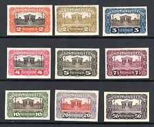1919 Austria Scott 219-226, 248 Parliament Bldg. imperf set granite paper MH