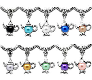 10-Mixed-Teapot-Dangle-Beads-Fit-Charms-Bracelet-32x21mm