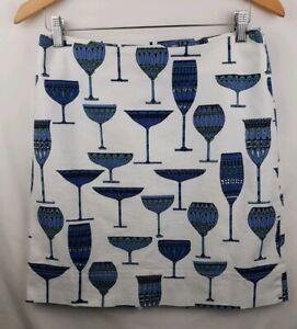 Talbots-Pencil-Skirt-Martini-Wine-Glasses-Blue-White-Novelty-Size-6-JJ