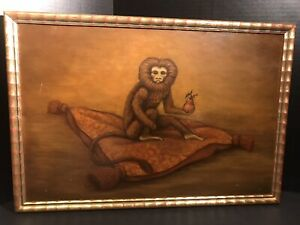 Oil-Painting-Golden-Lion-Tamarin-Signed-Monkey-Oil-Art-Work-Vintage