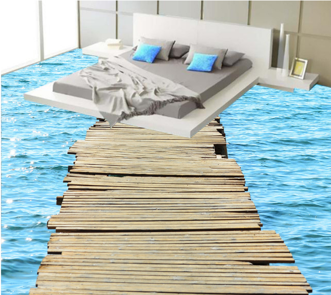 3D FBlau Ocean Bridge 83 Floor WallPaper Murals Wall Print Decal AJ WALLPAPER US