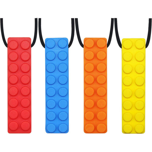 4 Pcs Safety Silicone Blocks Chewing Pendant Autistic Kids Teether Necklace