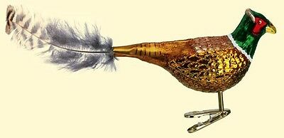 PHEASANT OLD WORLD CHRISTMAS GLASS BIRD CLIP ON ORNAMENT FEATHER TAIL NWT 18020