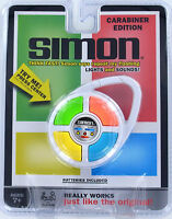 Simon Handheld Electronic Game Lights Sounds White Travel Clip-on Carabiner