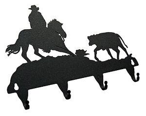 Cutting-Horse-Key-Hook-Holder-Western-Cowboy-Cow-Calf