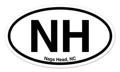 "NH Nags Head NC Oval car window bumper sticker decal 5/"" x 3/"""