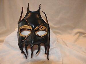 Leather-Commedia-Fantasy-Mask-Mardi-Gras-singed-Jim-Gibeault-Half-Mask-with-nose