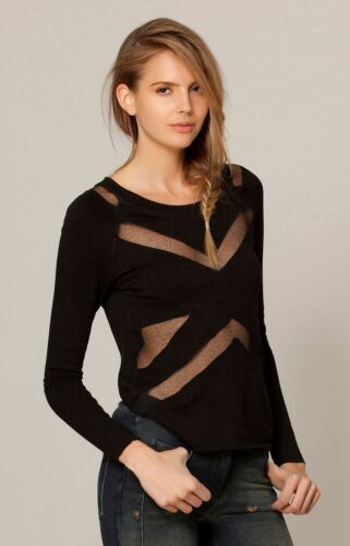 Liberty Garden Black Terry Long Sleeve ShirtCut Out XS NWT 4HSH2553 *