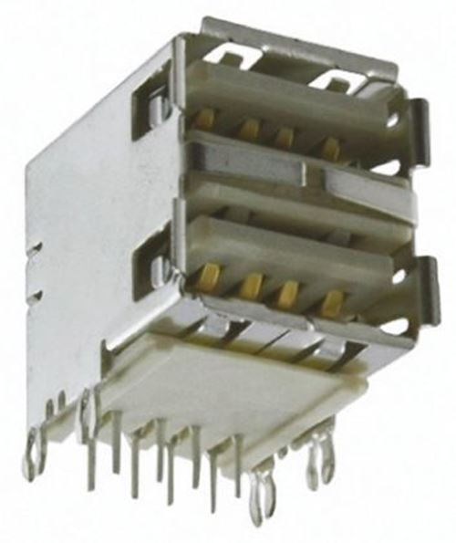Amphenol FCI Dual Port Right Angle Through Hole, Version 2.0 Type A USB Connecto