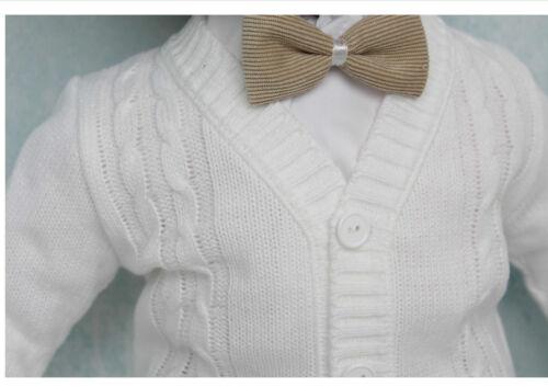 Baby Boy White Wedding Christening 5 Piece Outfit Set 0-18 M 64//68//74//86 cm