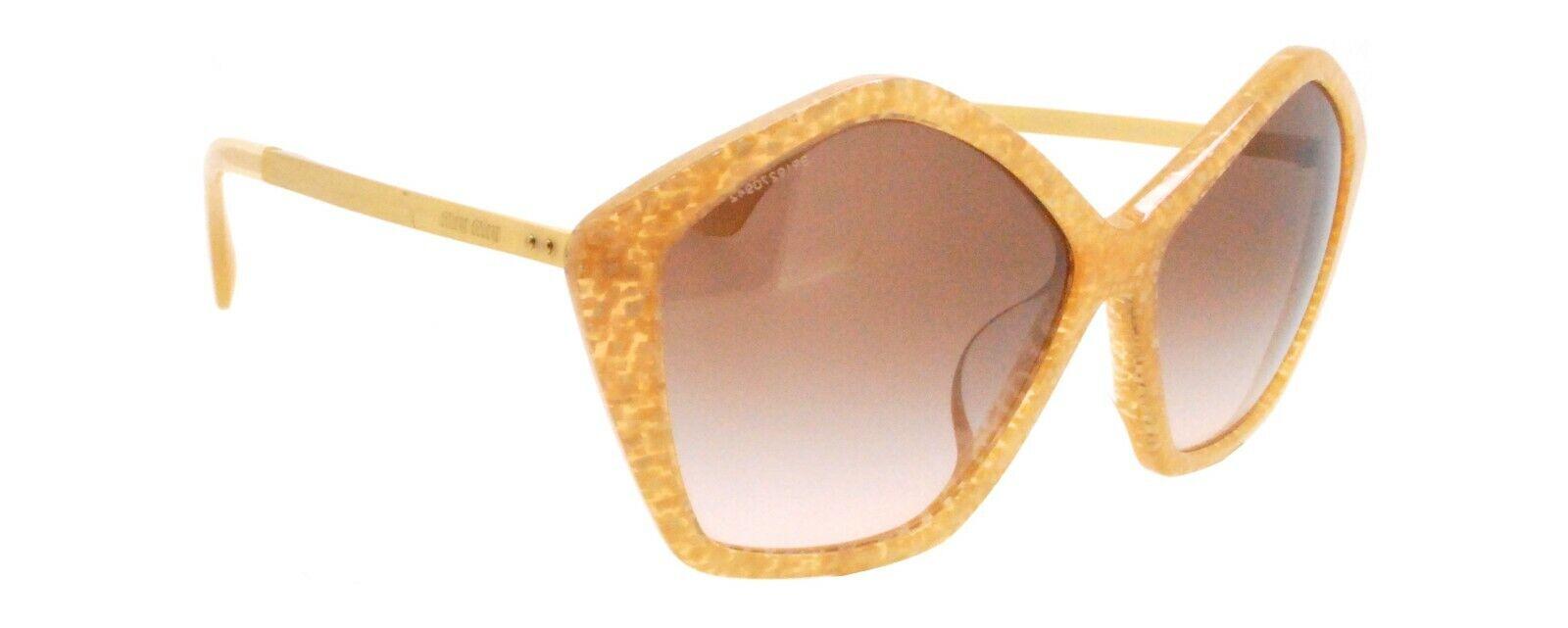 New Authentic Miu Miu SMU 11N-A KAS-0A6 Italy Gold Glitter Pentagon Sunglasses