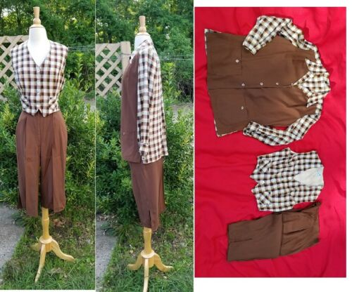 """Vintage 1940""""Sareze of Miami""""Capri Pants,Vest Plai"""