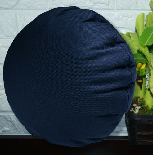 PL10n Navy Blue Canvas Water Proof Outdoor Round Shape Cushion Cover Custom Size