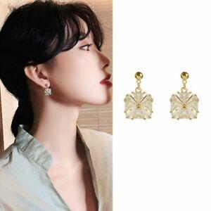 Charm-Geometric-Square-Crystal-Stud-Earrings-Drop-Dangle-Women-Jewelry-Gift-New