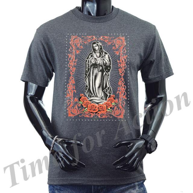 Men/'s Virgin Mary Tri-Blend Red T Shirt C1 Religious Catholic Virgen Maria SALE!