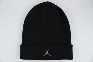 78607cceee3 NIKE JORDAN BEANIE BLACK SILVER METAL JUMPMAN DRI-FIT CUFF HAT CAP ...