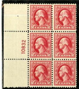US-Stamps-526-2c-Washington-VF-OG-NH-Plate-Block-Of-6-Wide-Selvage-Scarce
