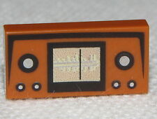 Lego New Dark Orange Tile 1 x 2 with Radio Frequency and Buttons Pattern