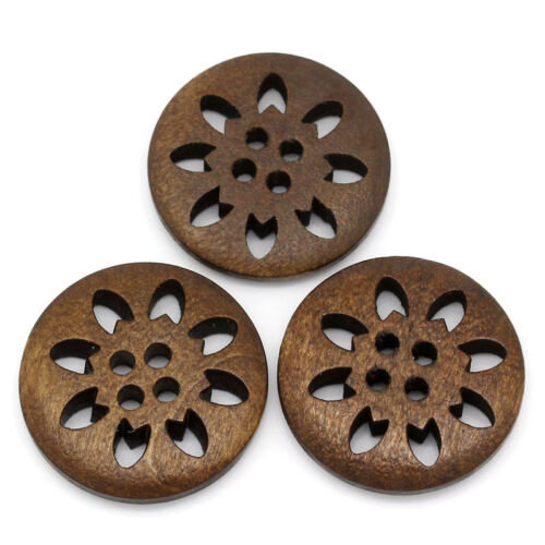 Wooden Flower Snowflake Design Buttons 25mm The Bead and Button Box