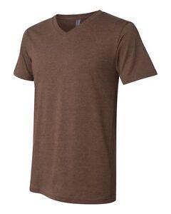 BELLA-CANVAS-Men-039-s-Soft-Comfy-V-neck-T-shirt-3005-Heather-Brown
