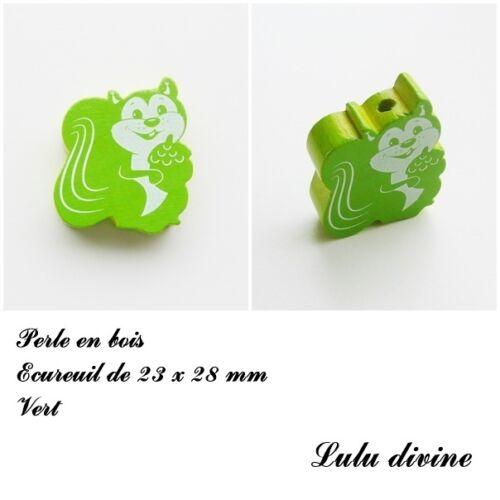 Vert Perle en bois de 23 x 28 mm Perle plate Ecureuil