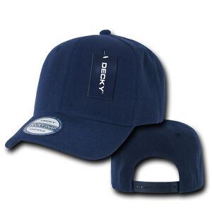 bac62e2947 NAVY BLUE Blank SNAPBACK HAT Plain Solid 6 Panel CURVE BILL Baseball ...