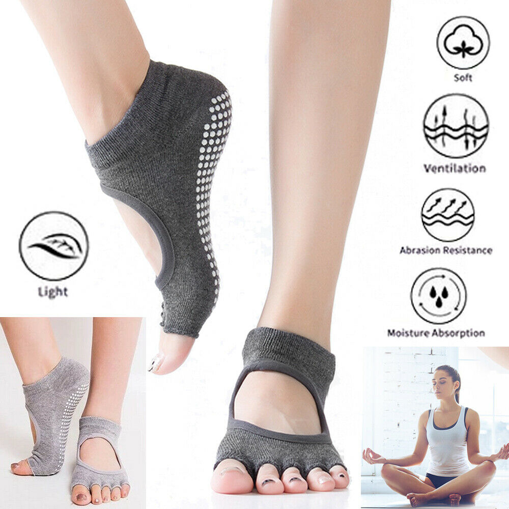 Pilates Non-slip Yoga Socks Fitness Massage Sports Half Toe Socks For Women Girl