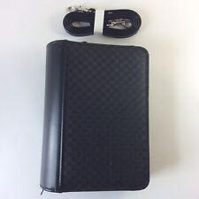 Compact Size Vegan Leather Fits Franklin Covey Planner Zipper Binder Black Strap