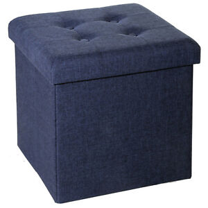 Image Is Loading Blue Fabric Square Ottoman Foldable Toy Storage Box