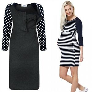 515c4ba42ba90 Happy Mama. Women's Maternity Nursing Dress 3/4 Sleeves Buttoned ...
