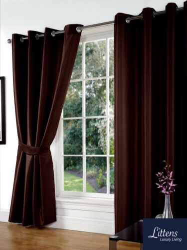 """Ring Top Lined Inc Tiebacks 46/"""" x 72/"""" Chocolate Faux Silk Pair Curtains Eyelet"""