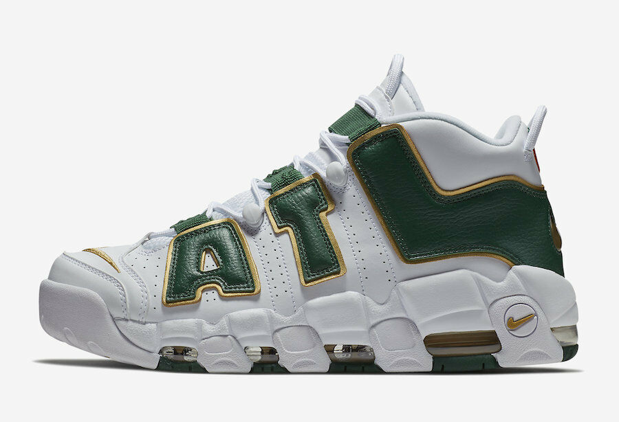 Nike Air More Uptempo ATL QS size 11. White Green Metallic gold. AJ3139-100.