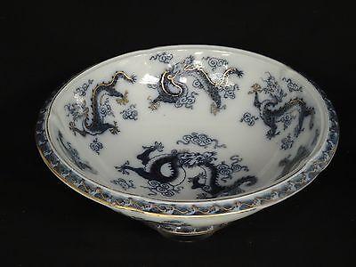 """Antiques Ceramics & Porcelain Large Antique Continental Blue & White Footed Dragon Porcelain Bowl 14.5"""""""