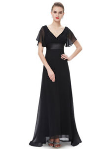 Ever-Pretty Long V Neck Sleeveless Formal Evening Dress with Front Slit 07373