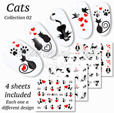 4x Nail Art Water Slide Decals Transfers Stickers Lucky Black Cats Hearts A495