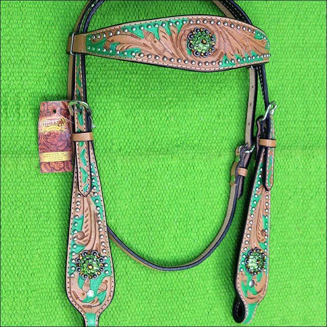 C4HS Hilason Western Horse Headstall Bridle American Leather Tan verde Bling