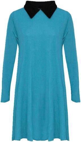 NEW WOMEN/'S LADIES PETER PAN COLLAR SKATER FLARED SWING DRESS UK PLUS SIZE 8-26
