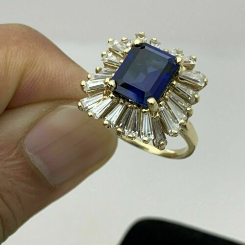 Details about  /5 Ct Emerald Cut Blue Sapphire /& Baguette Diamonds Ring 14k Yellow Gold Over